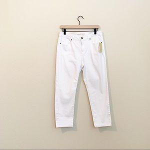Michael Kors white cropped pants.